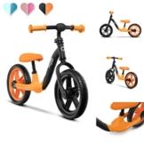 Lionelo Alex Laufrad Kinder Fahrrad bis 30 kg Sattel und Lenker einstellbar 12 Zoll Eva Schaumräder robuste Konstruktion Lenkeinschlagsbegrenzung EN 71 (Orange) - 1