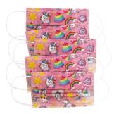 CRAZE 5er Set bunte Mundmaske für Kinder Einwegmaske Gesichtsmaske 3-lagig Maske mit Motiv Gesicht und Nase Kindermaske Unicorn Einhorn 31865 - 1