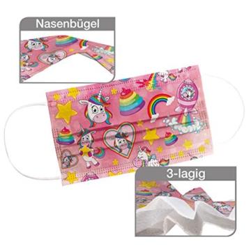 CRAZE 5er Set bunte Mundmaske für Kinder Einwegmaske Gesichtsmaske 3-lagig Maske mit Motiv Gesicht und Nase Kindermaske Unicorn Einhorn 31865 - 3
