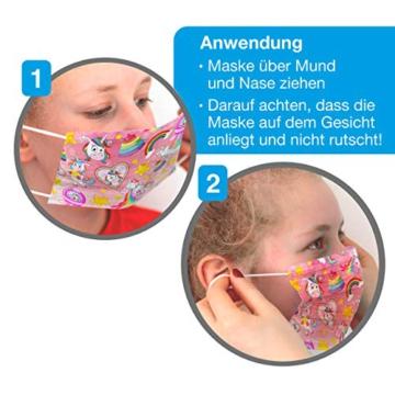 CRAZE 5er Set bunte Mundmaske für Kinder Einwegmaske Gesichtsmaske 3-lagig Maske mit Motiv Gesicht und Nase Kindermaske Unicorn Einhorn 31865 - 6