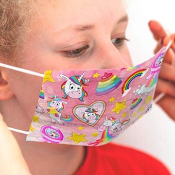CRAZE 5er Set bunte Mundmaske für Kinder Einwegmaske Gesichtsmaske 3-lagig Maske mit Motiv Gesicht und Nase Kindermaske Unicorn Einhorn 31865 - 7