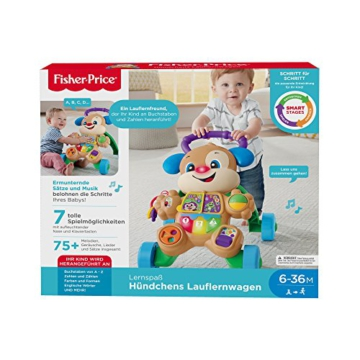 Fisher-Price FRC83 - Lernspaß Hündchens Lauflernwagen und Baby Lauflernhilfe mit mitwachsenden Spielstufen, Liedern und Sätze, Gehhilfe ab 6 Monaten, deutschsprachig - 14