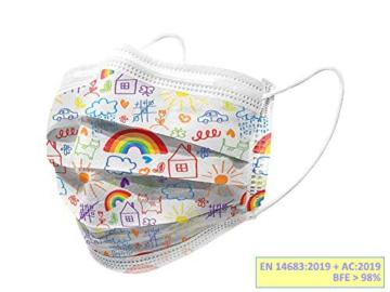Gima - Gisafe Filtrierende Chirurgische Maske BFE > 98%, zum Einmalgebrauch, 3 Lagen, Typ IIR, für Kinder, Cartoonmuster, MP der Klasse I, CE-Kennzeichnung, Flowpack mit 10 Stücken - 2