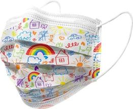 Gima - Gisafe Filtrierende Chirurgische Maske BFE > 98%, zum Einmalgebrauch, 3 Lagen, Typ IIR, für Kinder, Cartoonmuster, MP der Klasse I, CE-Kennzeichnung, Flowpack mit 10 Stücken - 1