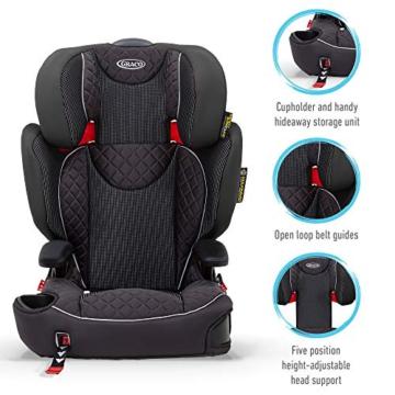 Graco Affix Kindersitz 15-36 kg, Autokindersitz ab 4 bis 12 Jahren, Gruppe 2/3, Konnektoren zur Fixierung am Isofix-System des Autos, mitwachsend, Seitenaufprallschutz, Getränkehalter, Stargazer - 4