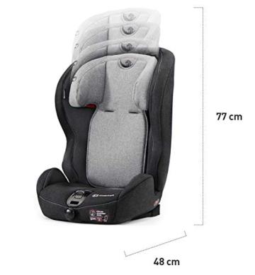 Kinderkraft Kinderautositz SAFETY FIX, Autokindersitz, Autositz, Kindersitz mit Isofix und Top Tether, Gruppe 1/2/3 9-36kg, 5 Punkt Sicherheitsgurt, Einstellbare Kopfstütze, ECE R44/04, Schwarz Grau - 9