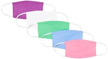 Oscar Apparels Kinder Wiederverwendbare Stoffmaske, 100% BCI Baumwolle mit elastischer Schlaufe, Farbmix 1, Kinder (5er Pack) - 1